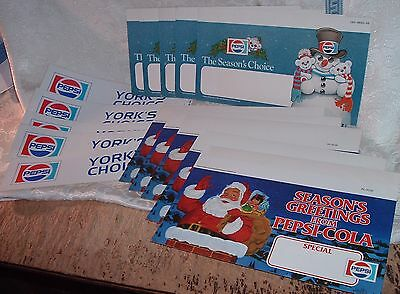 Vintage Pepsi 15 Piece Lot Store isle Signs Xmas and York PA Bumper Stickers