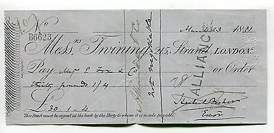 Twining's Bank, Strand, London - cheque dated 1881 - Herbert William Fisher