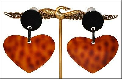 Spectacular Black And Faux Tortoise Resin Dangling Clip On Heart Earrings