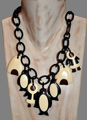 French Designer Chunky Resin Bib Charm Necklace With Eskimo Penguin Igloo