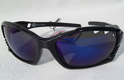Dirty Dog Pipe Sunglasses Blue Mirror Lens Black Frame Surf Sail Watersports