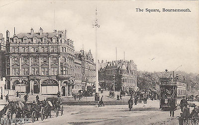 Postcard Bournemouth Dorset early view of The Square with old tram by Sydenham