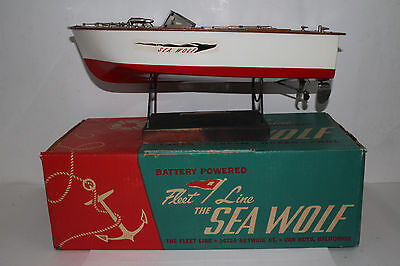 1950's Fleet Line Sea Wolf Battery Operated Boat, Boxed