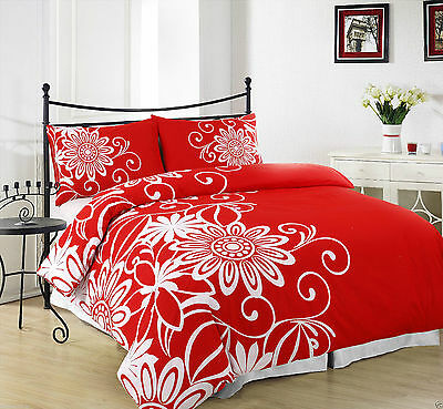 Duvet Cover with Pillow Case Quilt Cover Bedding Set Bid (Helen Red) Double Size