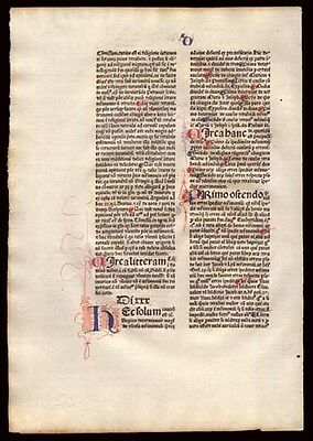 Commentary on  Sentences of Peter Lombard Bishop of Paris 539 Yr Old Incunable