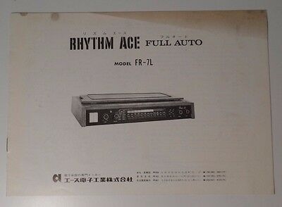 Rhythm Ace User Manual FR-7L Ace Electronic Industries(Roland)  Original