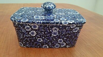 Burleigh Ware Calico  Butter Dish With Lid -Excellent Unused
