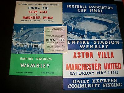 ASTON VILLA V MANCHESTER UNITED FA CUP FINAL Programme ticket + song sheet 1957