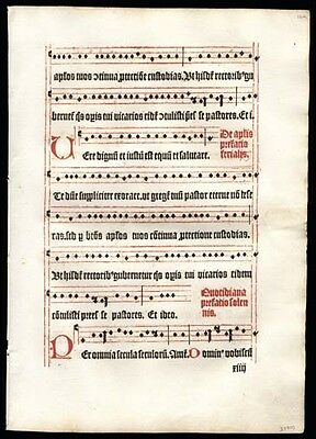 Medieval Music Leaf 1499 1st Edition Missal Gregorian Chant Sunday Mass
