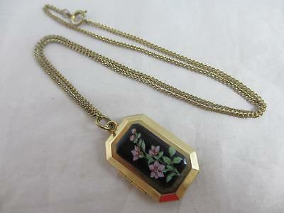 Enamel flowers 9k gold plate double pendant locket necklace vintage rkw00111