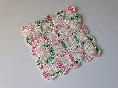 Vintage Hand Crochet White With Pink And Green Potholder