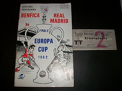 BENFICA v REAL MADRID EUROPEAN CUP FINAL PROGRAMME + TICKET  1962 ********