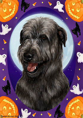Garden Indoor/Outdoor Halloween Flag - Black Irish Wolfhound 121641