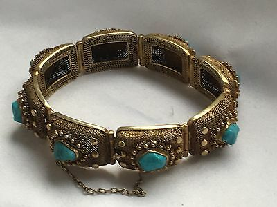 antqiue hallmark China silver silver gilt turquoise bracelet with safety chain