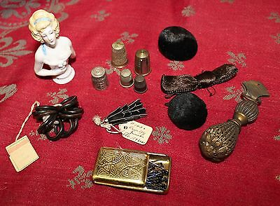 Antique Sewing Items Notions Thimbles Needle Case Pin Cushion Embellishments