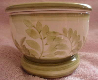 Jersey Pottery Pottery Flower Bowl With Frog. Very Good Condition 9 Cm Tall12Dia