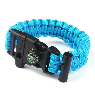 6 Farbe Rope Paracord Survival Armband Flint Fire Starter Compass Whistle