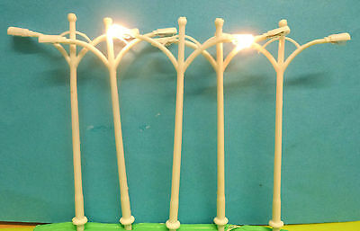 WOW 5 White 1/100 Scale Double Arm 6volt Street Lights 10cm Tall:£1-99:New: