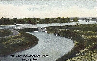 Old postcard, Bow River Irrigation Canal, CALGARY, Alberta
