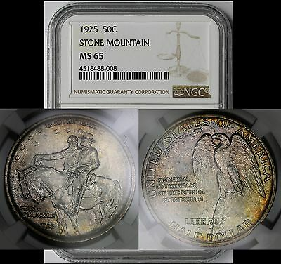 1925 Stone Mountain Memorial Commemorative Silver 50C MS 65 NGC Color Toned