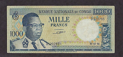 Congo National Bank 1961 1000 Mille Francs Used - 0793