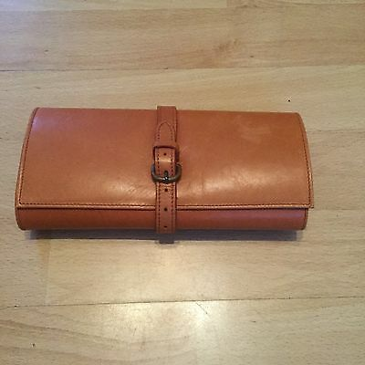 Papyrus Bath London Soft Tan Leather Large Artist Pencil Case, Made In England,
