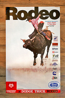 Lane Frost and Red Rock -  Original Champions Showdown Poster - Clovis, CA 1988