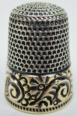 Beautiful Antique Ketcham & Mcdougall Sterling Silver Gold Band Thimble Size 9