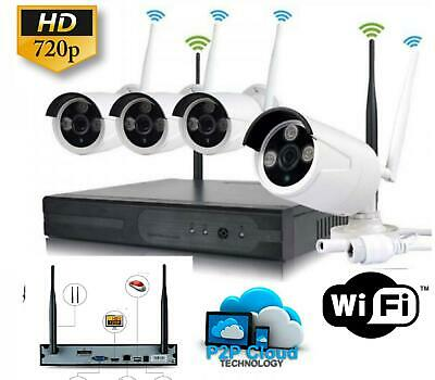 Kit Videosorveglianza Wireless Dvr Nvr 4 Canali 4 Telecamera Wireless + Hd 500Gb