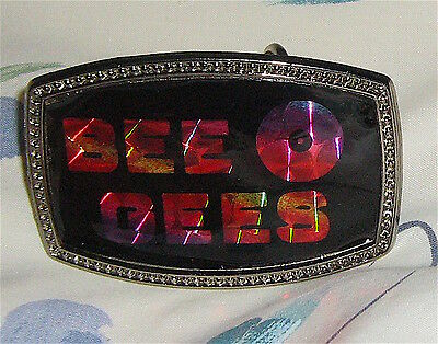 Rare Unused  Vintage 1977 Bee Gees Buckle Prisim Lacquer Overlay