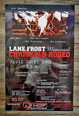 Lane Frost Memorial Christian Rodeo Poster - April 20-21 2001 Coleman, OK