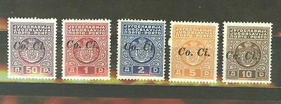 Italy WWII Occupation of Yugoslavia Sc. 1NJ1-5 MH, signed