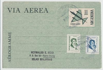 ARGENTINA 1972 11p AIRLETTER UPRATED BUENOS AIRES TO PORT STANLEY