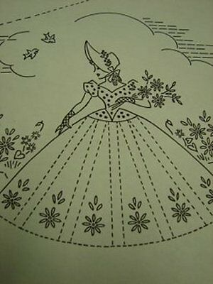 Southern Belle Embroidered Pillowcases Pattern Fancy Ribbons & Lace 1940s