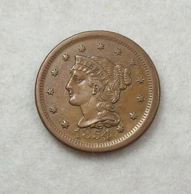 1854 Braided Hair Large Cent EXTRA FINE 1c