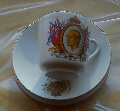 KING EDWARD VIII 8th CORONATION TRIO CUP SAUCER PLATE 12 MAY 1937 UK ROYALTY VGC