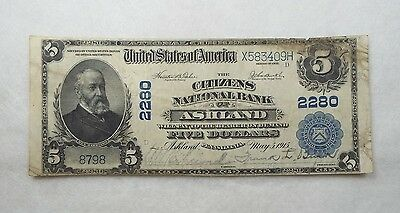 #2280 Series 1902 Large Size $5 National Bank of Ashland, PA Note FINE Fr#606