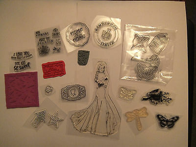 Mixed Lot Clear and Rubber Stamps.     (Most are NEW!)      craft clearout .