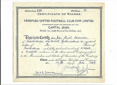 HEREFORD UNITED FOOTBALL CLUB (1939) LIMITED rare 17 July 1967 Share Certificate