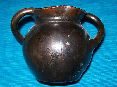 Vintage Art Pottery Vase with thick Treacley Glaze-2 x handles & fluted rim