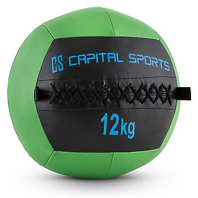 PROMO WALL BALL 12KG CUIR SYNTHETIQUE VERT TRAINING FITNESS Training MUSCULATION