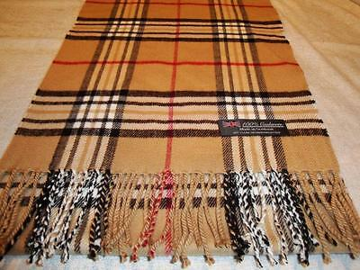 100% Cashmere Scarf LONG 72X12 Camel Beige Check Plaid Scotland Wool Unisex Wrap