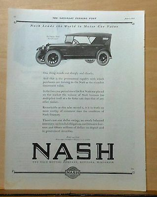 1922 magazine ad for Nash - Six Touring Model, Soundest Investment value