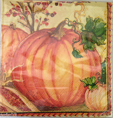 C R Gibson Paper Napkins Beverage set of 40 Pumpkins Thanksgiving Harvest Fall