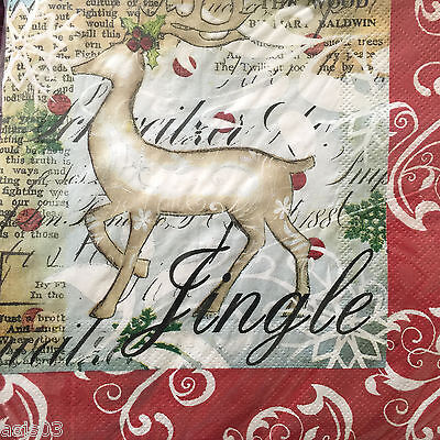 C R Gibson Christmas Paper Napkins set of 40 Luncheon Jingle Deer Holiday Winter