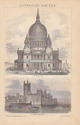 London Saint Paul's Cathedral Palace of Westminster HOLZSTICH von 1885