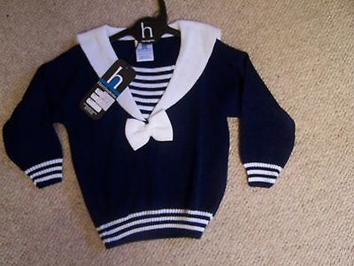 Vintage Harrington White  And Blue Sailor Suit Jumper New With Tags