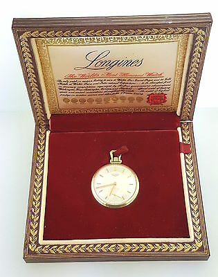 14k Yellow Gold Longines Open Face Pocket Watch 17L 2307p in Box