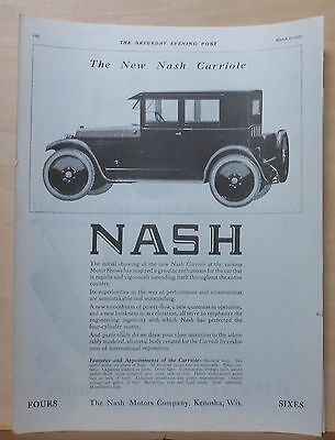 1923 magazine ad for Nash - Carriole illustration, features & appointments list
