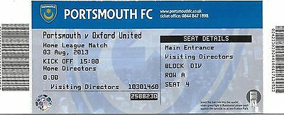 Football Ticket (Director's) PORTSMOUTH v OXFORD UNITED Aug 2013